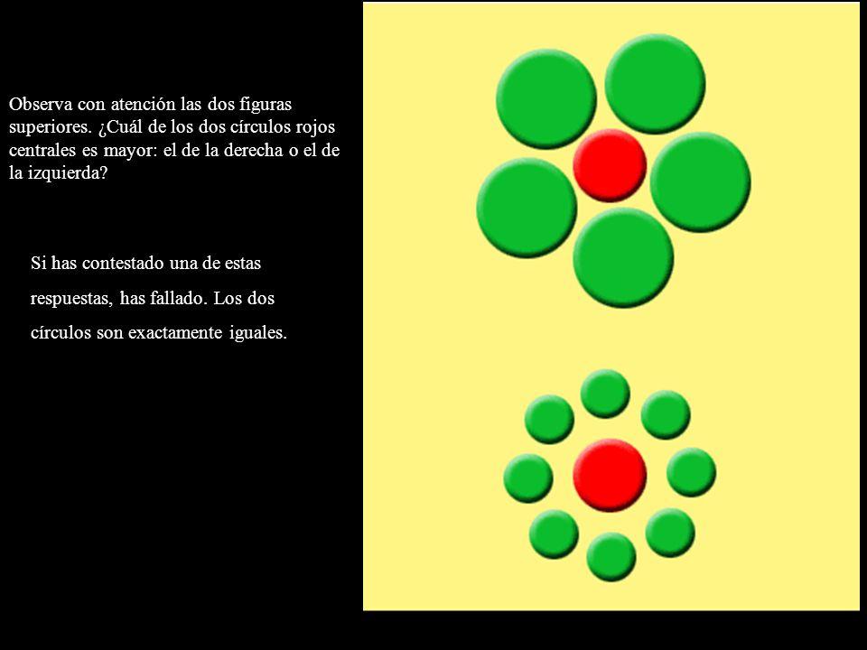 Observa con atención las dos figuras superiores. ¿Cuál de los dos círculos rojos centrales es mayor: el de la derecha o el de la izquierda? Si has con