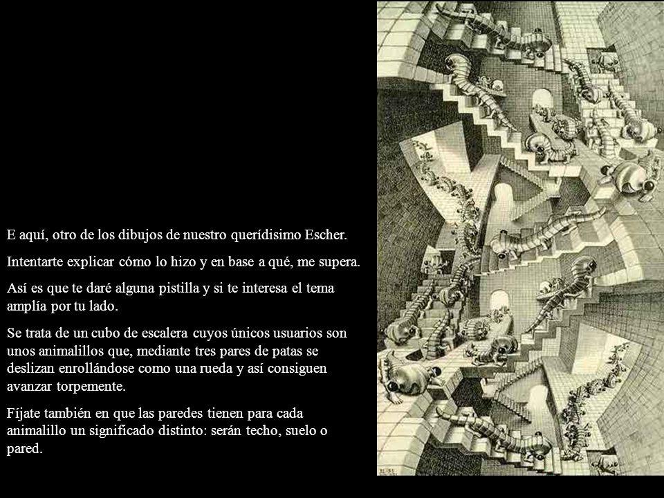 E aquí, otro de los dibujos de nuestro querídisimo Escher. Intentarte explicar cómo lo hizo y en base a qué, me supera. Así es que te daré alguna pist