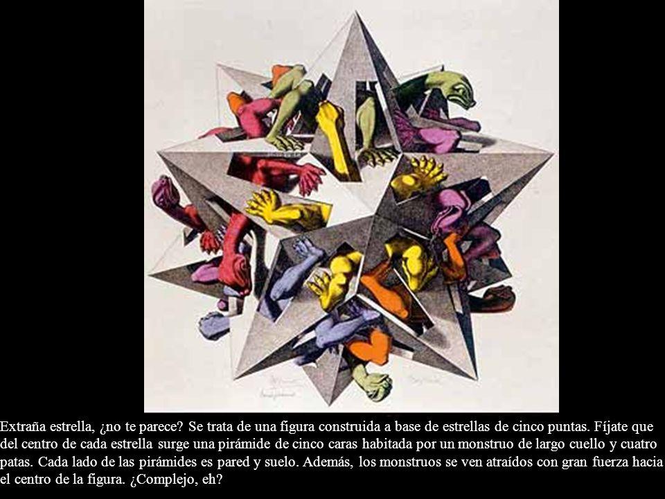 Extraña estrella, ¿no te parece? Se trata de una figura construida a base de estrellas de cinco puntas. Fíjate que del centro de cada estrella surge u