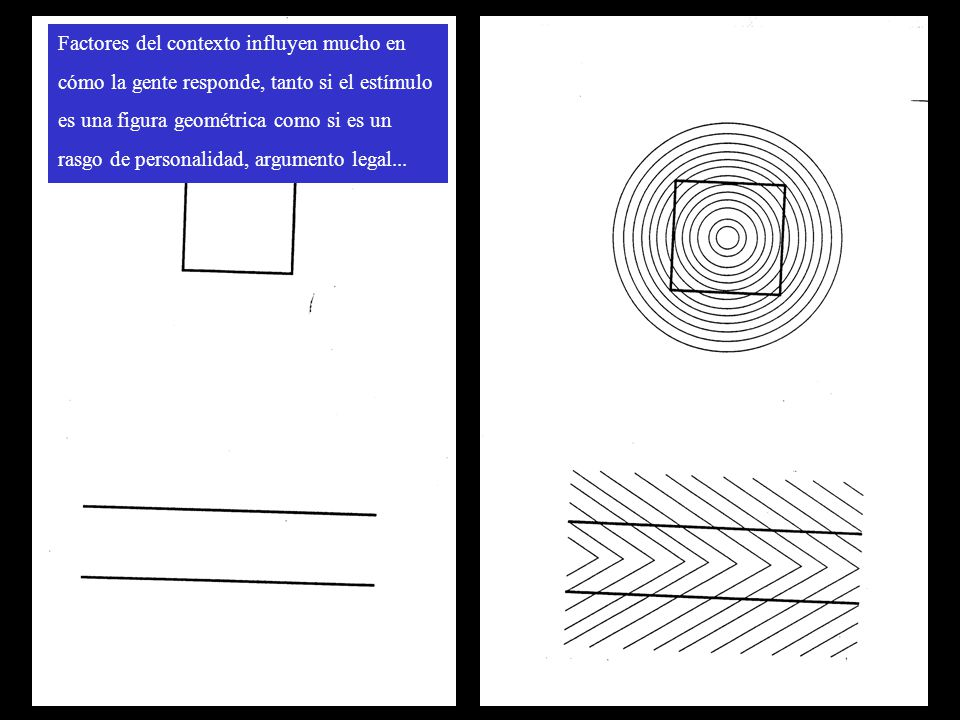 Factores del contexto influyen mucho en cómo la gente responde, tanto si el estímulo es una figura geométrica como si es un rasgo de personalidad, arg