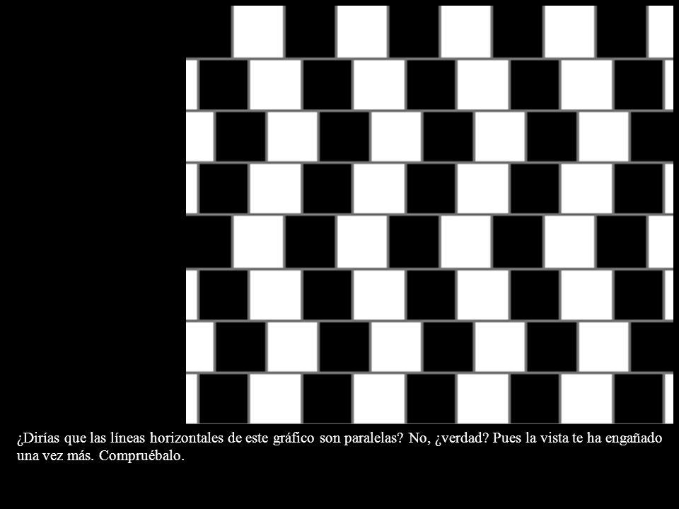 ¿Dirías que las líneas horizontales de este gráfico son paralelas? No, ¿verdad? Pues la vista te ha engañado una vez más. Compruébalo.