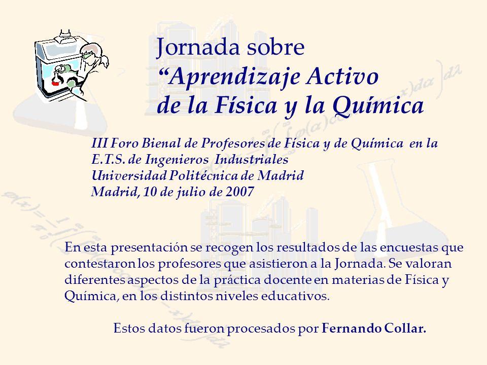 Informaci ó n general sobre los asistentes (I) Procedencia Universidad26 Bachillerato29 Total55* * De 190 profesores asistentes y 232 inscritos