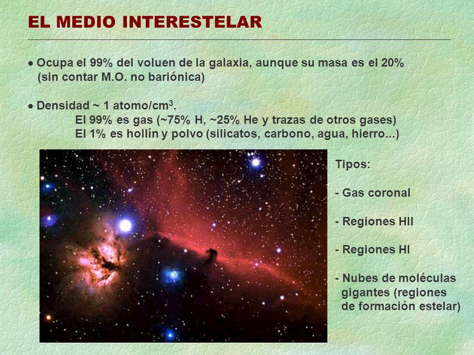 EL MEDIO INTERESTELAR Ocupa el 99% del voluen de la galaxia, aunque su masa es el 20% (sin contar M.O.