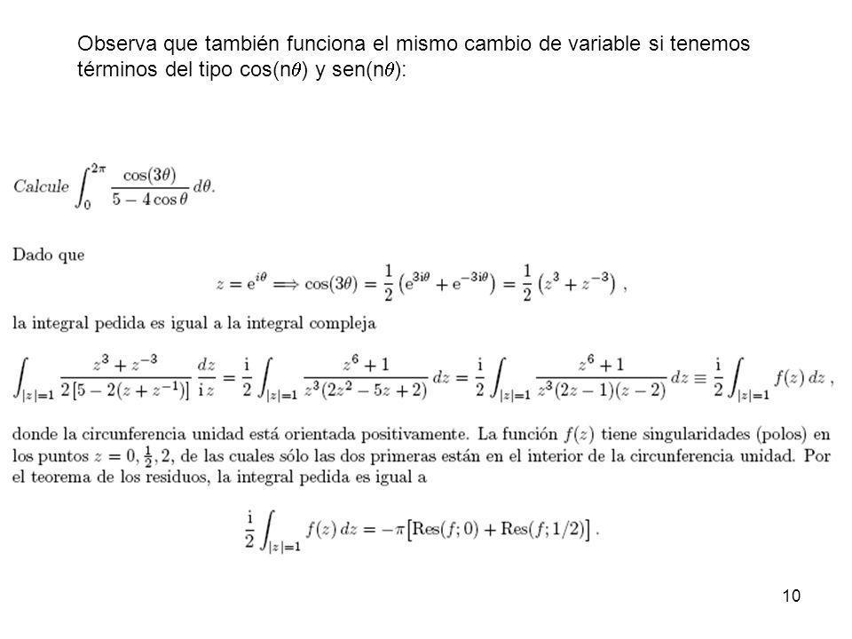 10 Observa que también funciona el mismo cambio de variable si tenemos términos del tipo cos(n ) y sen(n ):