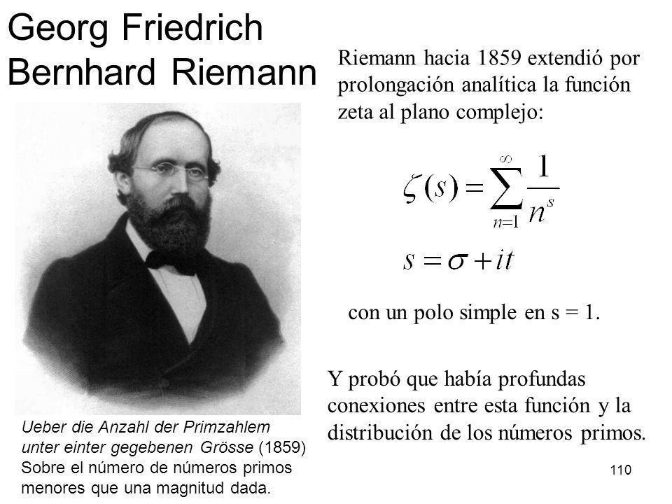 110 Ueber die Anzahl der Primzahlem unter einter gegebenen Grösse (1859) Sobre el número de números primos menores que una magnitud dada. Georg Friedr