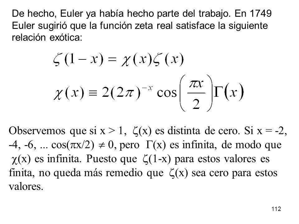 112 De hecho, Euler ya había hecho parte del trabajo. En 1749 Euler sugirió que la función zeta real satisface la siguiente relación exótica: Observem