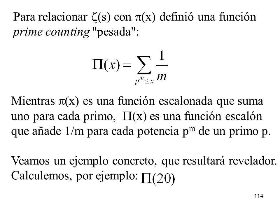 114 Para relacionar (s) con (x) definió una función prime counting