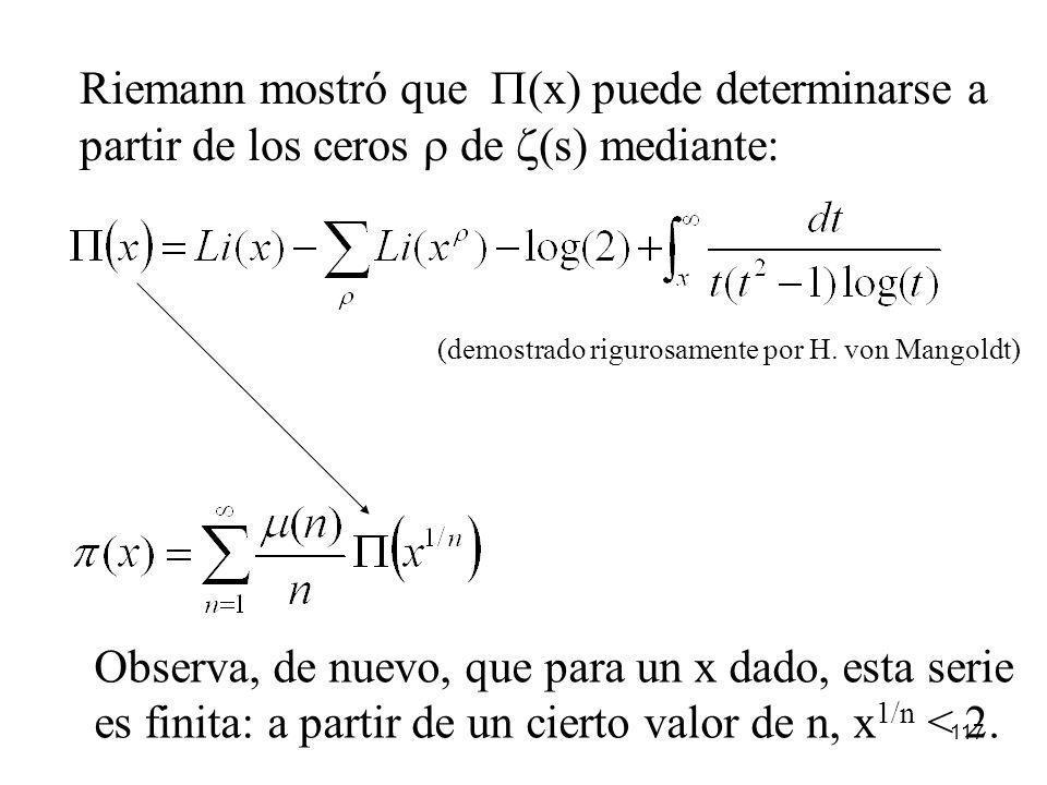 117 Riemann mostró que (x) puede determinarse a partir de los ceros de (s) mediante: (demostrado rigurosamente por H. von Mangoldt) Observa, de nuevo,