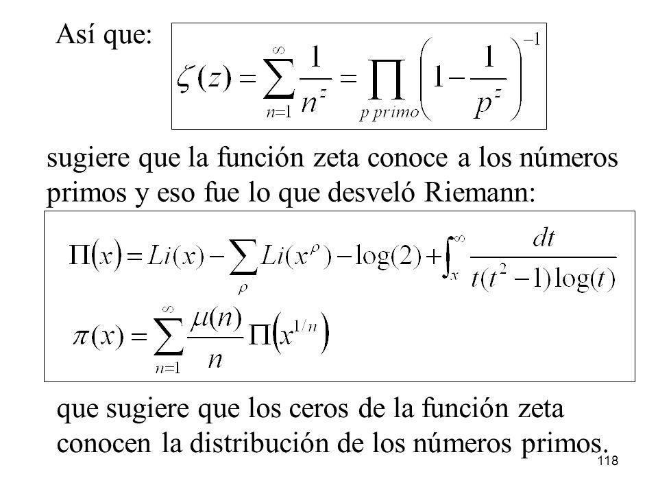 118 Así que: sugiere que la función zeta conoce a los números primos y eso fue lo que desveló Riemann: que sugiere que los ceros de la función zeta co