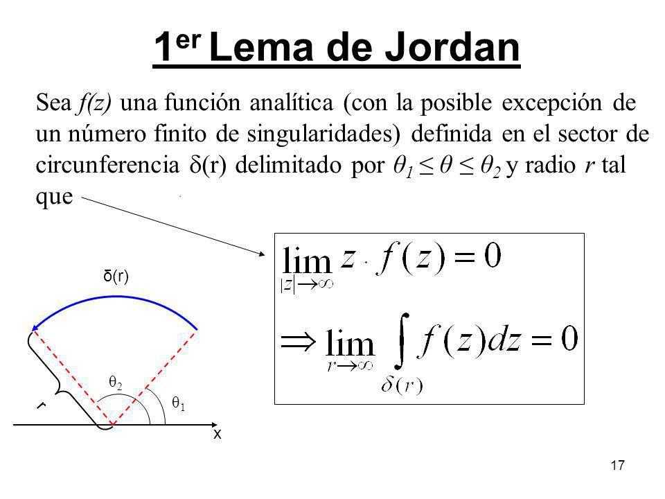 17 1 er Lema de Jordan Sea f(z) una función analítica (con la posible excepción de un número finito de singularidades) definida en el sector de circun