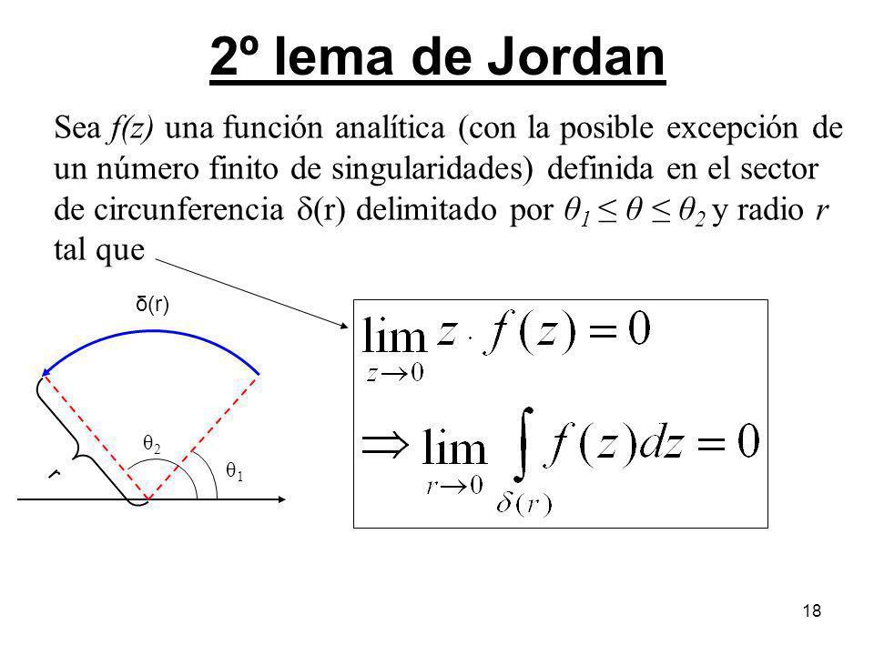 18 2º lema de Jordan Sea f(z) una función analítica (con la posible excepción de un número finito de singularidades) definida en el sector de circunfe