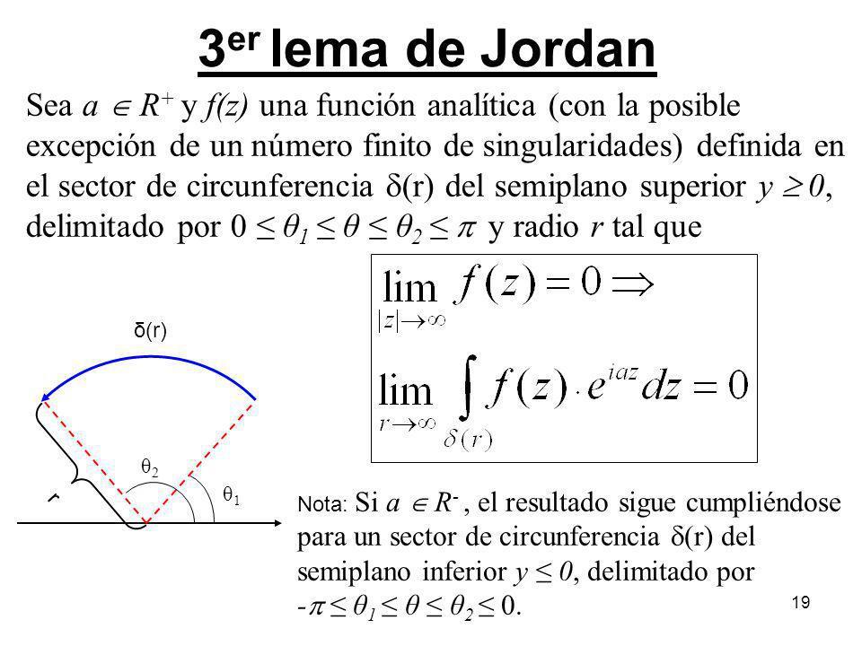 19 Sea a R + y f(z) una función analítica (con la posible excepción de un número finito de singularidades) definida en el sector de circunferencia (r)