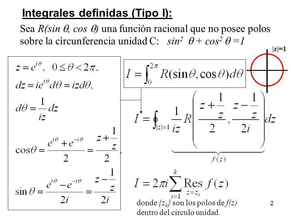 2 Integrales definidas (Tipo I): Sea R(sin, cos ) una función racional que no posee polos sobre la círcunferencia unidad C: sin 2 + cos 2 =1 donde {z