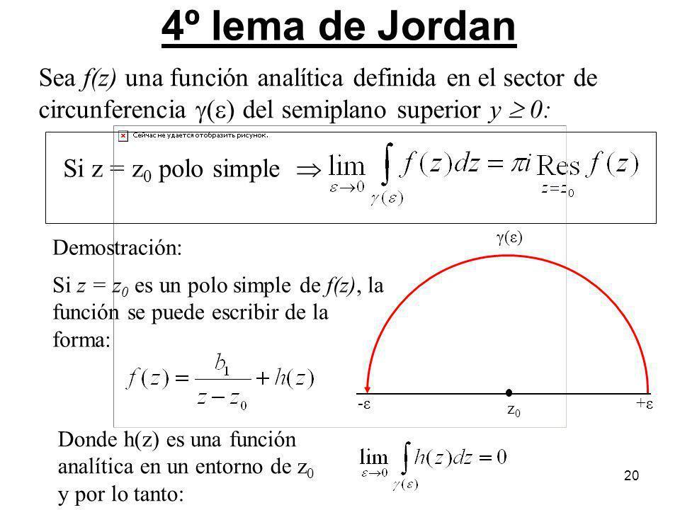 20 4º lema de Jordan Si z = z 0 polo simple -ε+ε γ(ε) z0z0 Demostración: Si z = z 0 es un polo simple de f(z), la función se puede escribir de la form