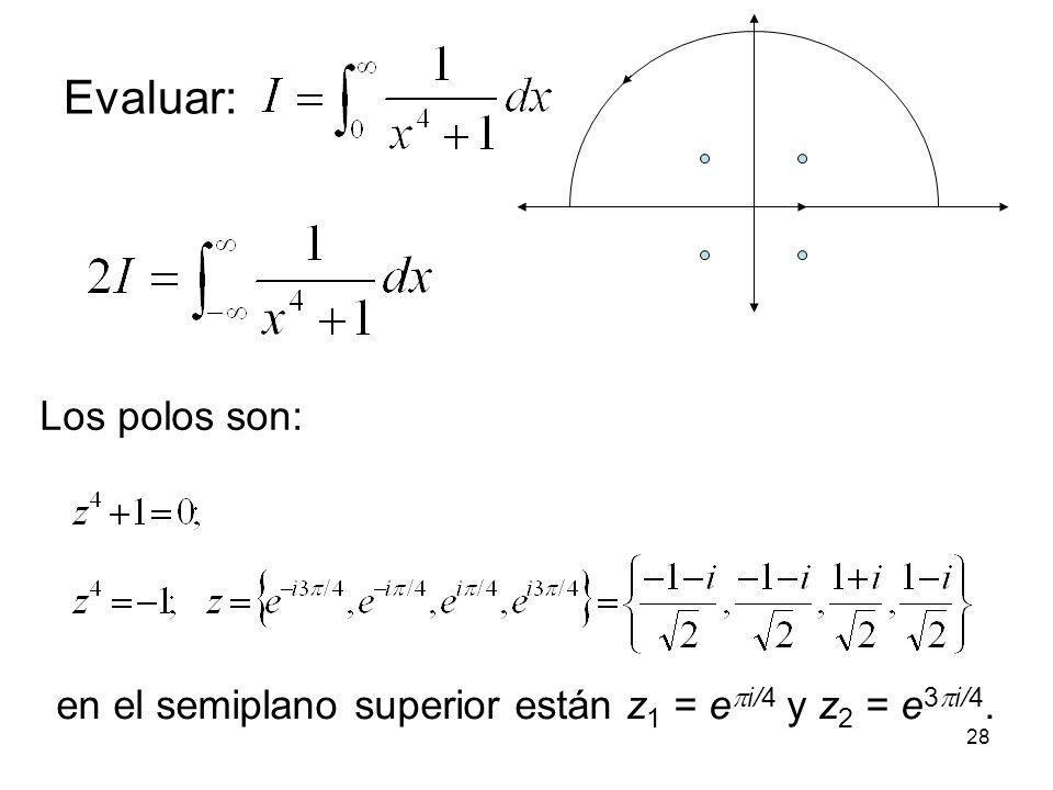 28 Evaluar: Los polos son: en el semiplano superior están z 1 = e i/4 y z 2 = e 3 i/4.