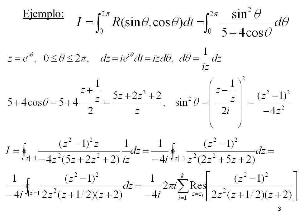4 Tiene 3 polos, uno doble en z = 0 y dos simples en z = -1/2 y z = -2, pero este último está fuera del contorno C (circunferencia de centro el origen y radio 1)