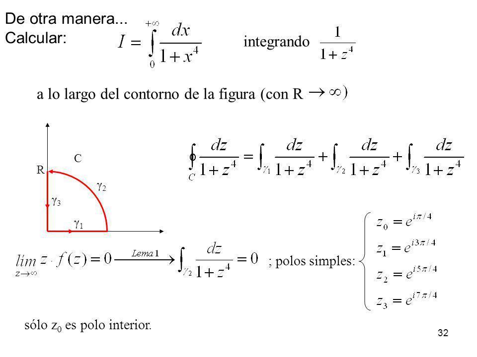 32 integrando a lo largo del contorno de la figura (con R ; polos simples: sólo z 0 es polo interior. γ2γ2 γ1γ1 γ3γ3 C R De otra manera... Calcular: