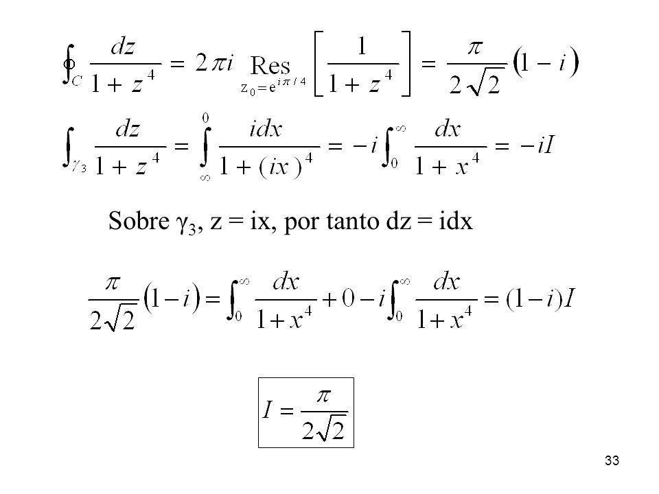 33 Sobre γ 3, z = ix, por tanto dz = idx