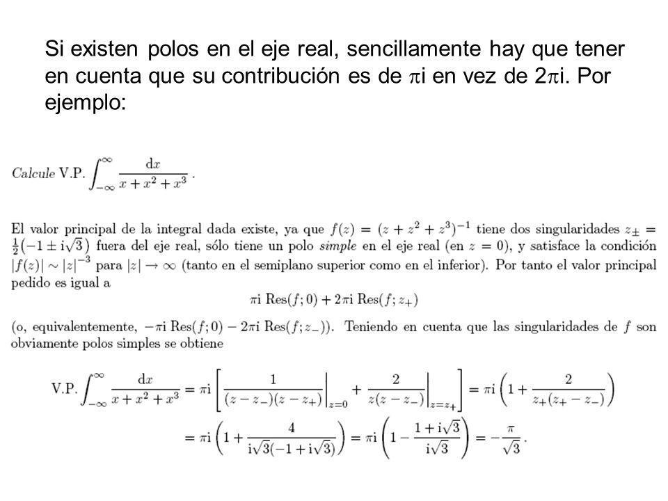 36 Si existen polos en el eje real, sencillamente hay que tener en cuenta que su contribución es de i en vez de 2 i. Por ejemplo: