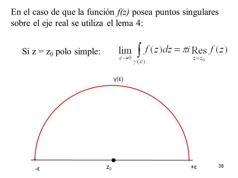 38 En el caso de que la función f(z) posea puntos singulares sobre el eje real se utiliza el lema 4: -ε +ε γ(ε) z0z0 Si z = z 0 polo simple: