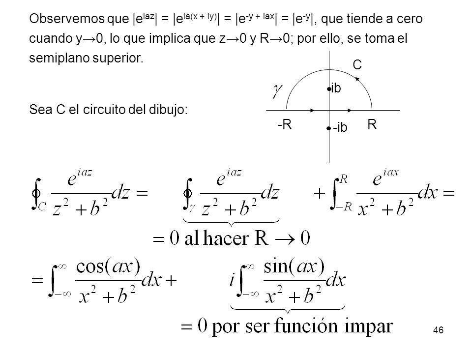 46 Observemos que  e iaz   =  e ia(x + iy)   =  e -y + iax   =  e -y  , que tiende a cero cuando y0, lo que implica que z0 y R0; por ello, se toma el