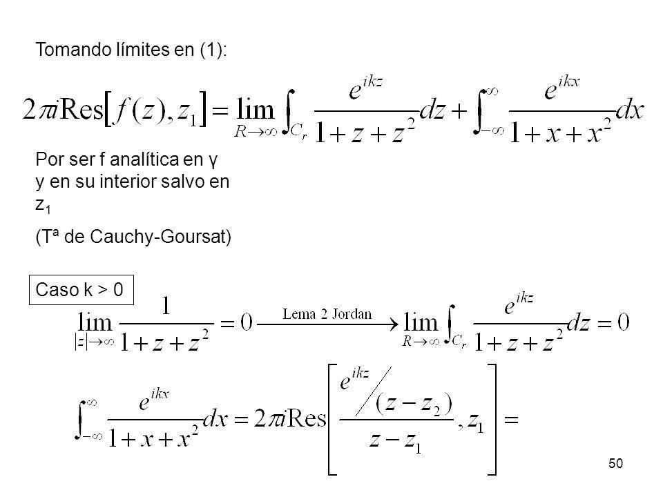 50 Tomando límites en (1): Por ser f analítica en γ y en su interior salvo en z 1 (Tª de Cauchy-Goursat) Caso k > 0