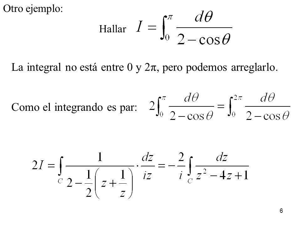 27 Calcular Como el integrando es par, nos es más fácil calcular Pasando a complejos:y se cumple por tanto aplicamos el lema 1: