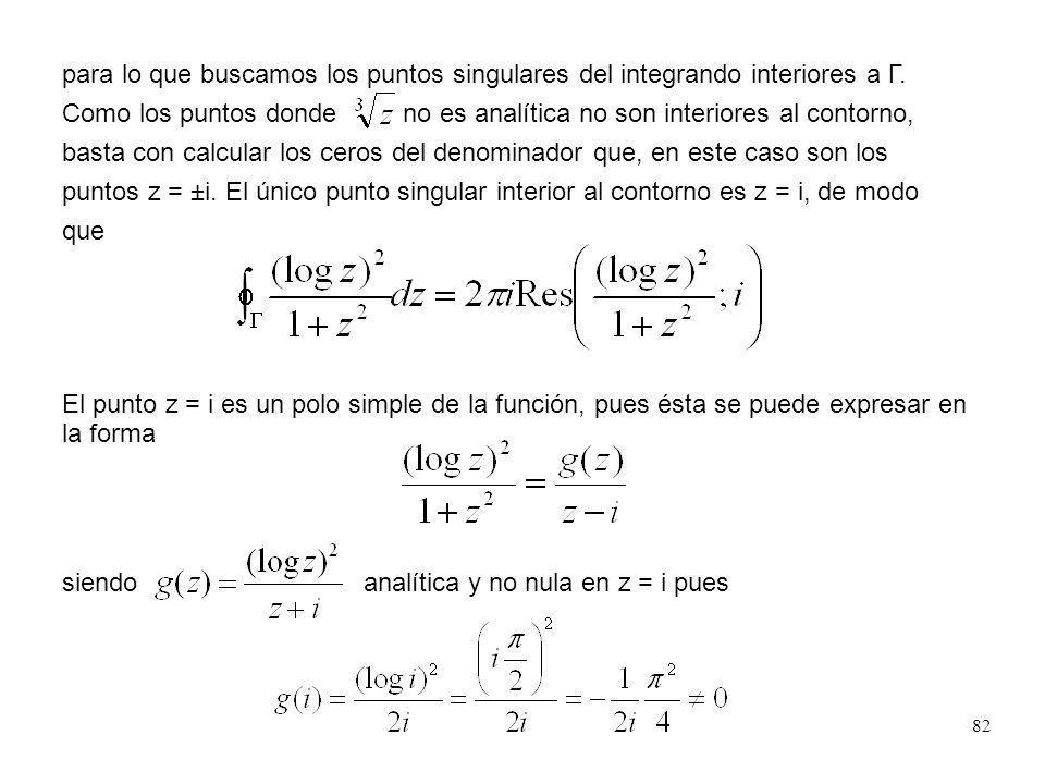 82 para lo que buscamos los puntos singulares del integrando interiores a Γ. Como los puntos donde no es analítica no son interiores al contorno, bast