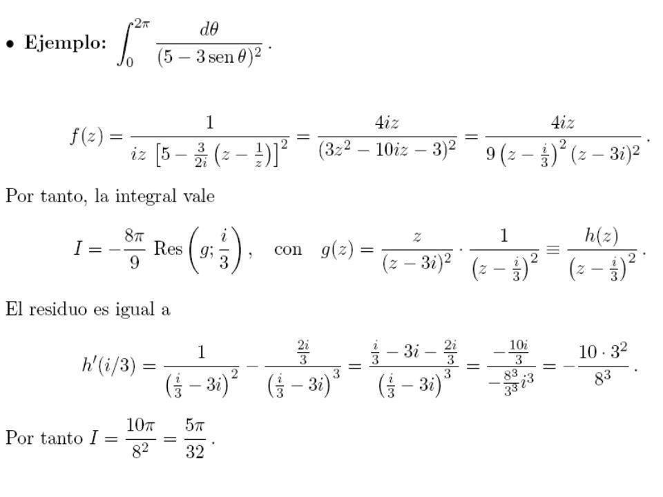 20 4º lema de Jordan Si z = z 0 polo simple -ε+ε γ(ε) z0z0 Demostración: Si z = z 0 es un polo simple de f(z), la función se puede escribir de la forma: Donde h(z) es una función analítica en un entorno de z 0 y por lo tanto: Sea f(z) una función analítica definida en el sector de circunferencia ( ) del semiplano superior y 0: