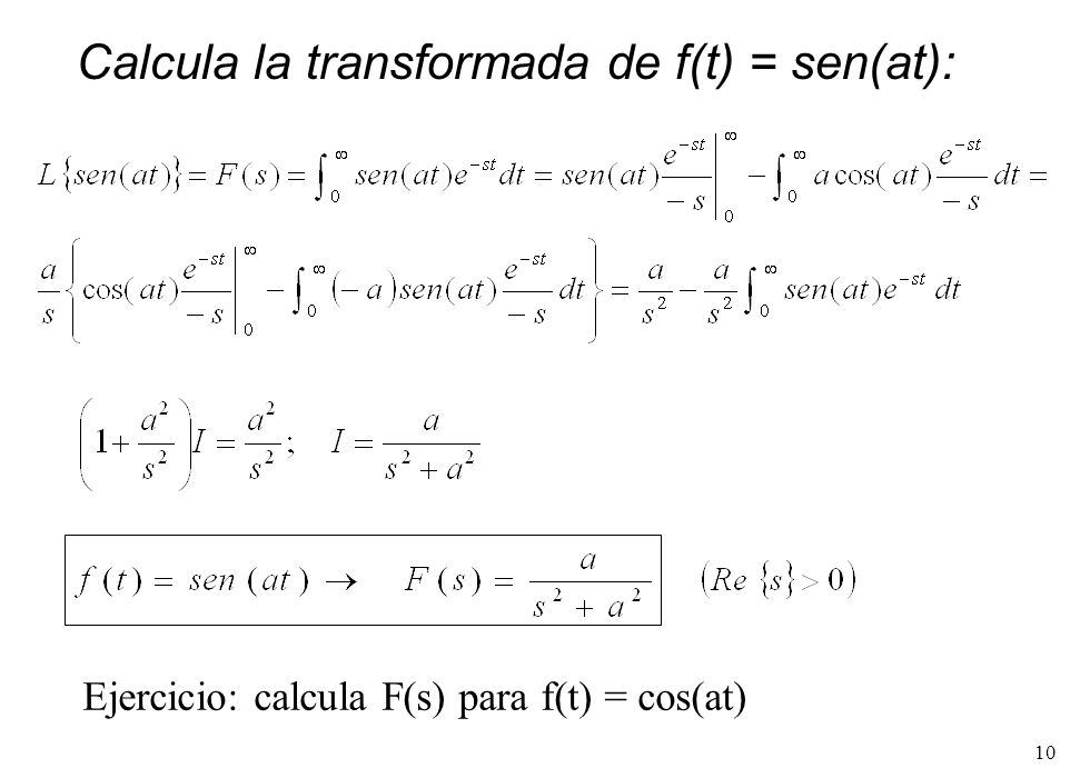10 Calcula la transformada de f(t) = sen(at): Ejercicio: calcula F(s) para f(t) = cos(at)