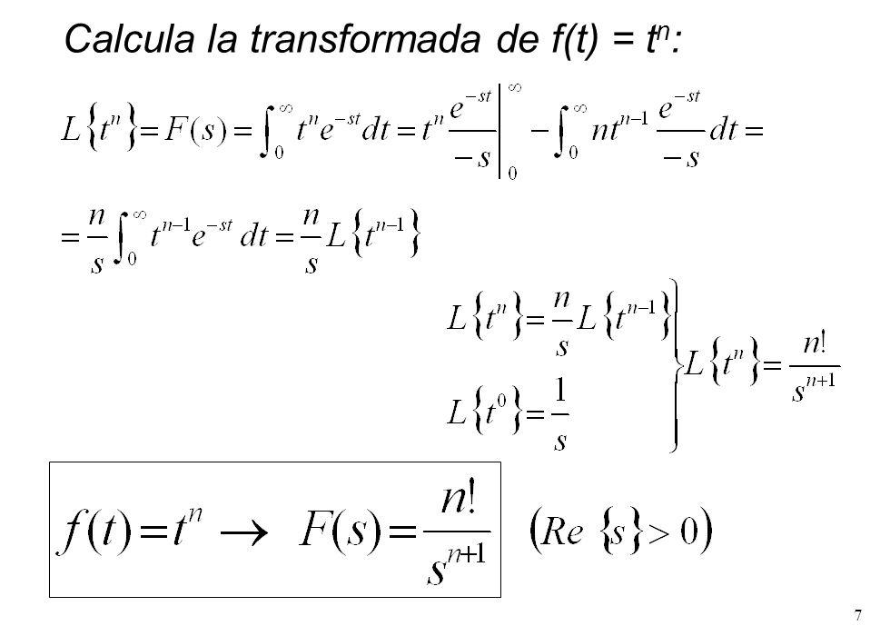 8 Calcula la transformada de f(t) = e -t :