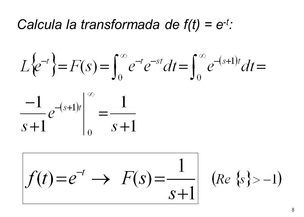 19 Tabla de transformadas de Laplace as e s n t t s t at n n 1 ! s 1 1 1 1 1 2