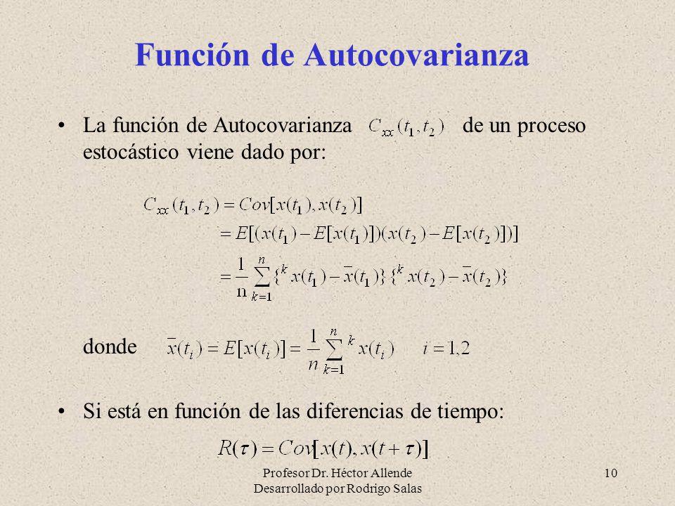 Profesor Dr. Héctor Allende Desarrollado por Rodrigo Salas 10 Función de Autocovarianza La función de Autocovarianza de un proceso estocástico viene d