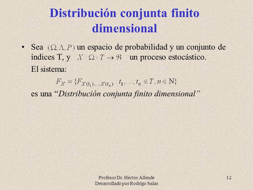 Profesor Dr. Héctor Allende Desarrollado por Rodrigo Salas 12 Distribución conjunta finito dimensional Sea un espacio de probabilidad y un conjunto de
