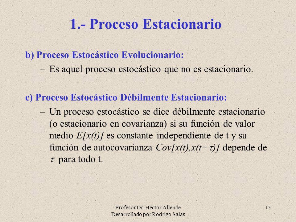 Profesor Dr. Héctor Allende Desarrollado por Rodrigo Salas 15 1.- Proceso Estacionario b) Proceso Estocástico Evolucionario: –Es aquel proceso estocás