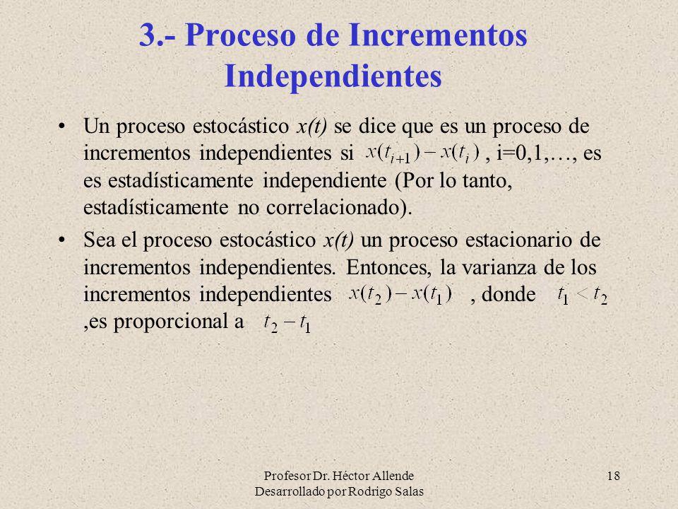 Profesor Dr. Héctor Allende Desarrollado por Rodrigo Salas 18 3.- Proceso de Incrementos Independientes Un proceso estocástico x(t) se dice que es un