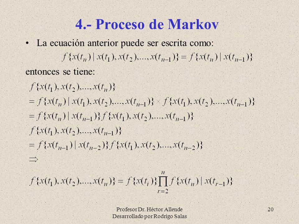 Profesor Dr. Héctor Allende Desarrollado por Rodrigo Salas 20 4.- Proceso de Markov La ecuación anterior puede ser escrita como: entonces se tiene: