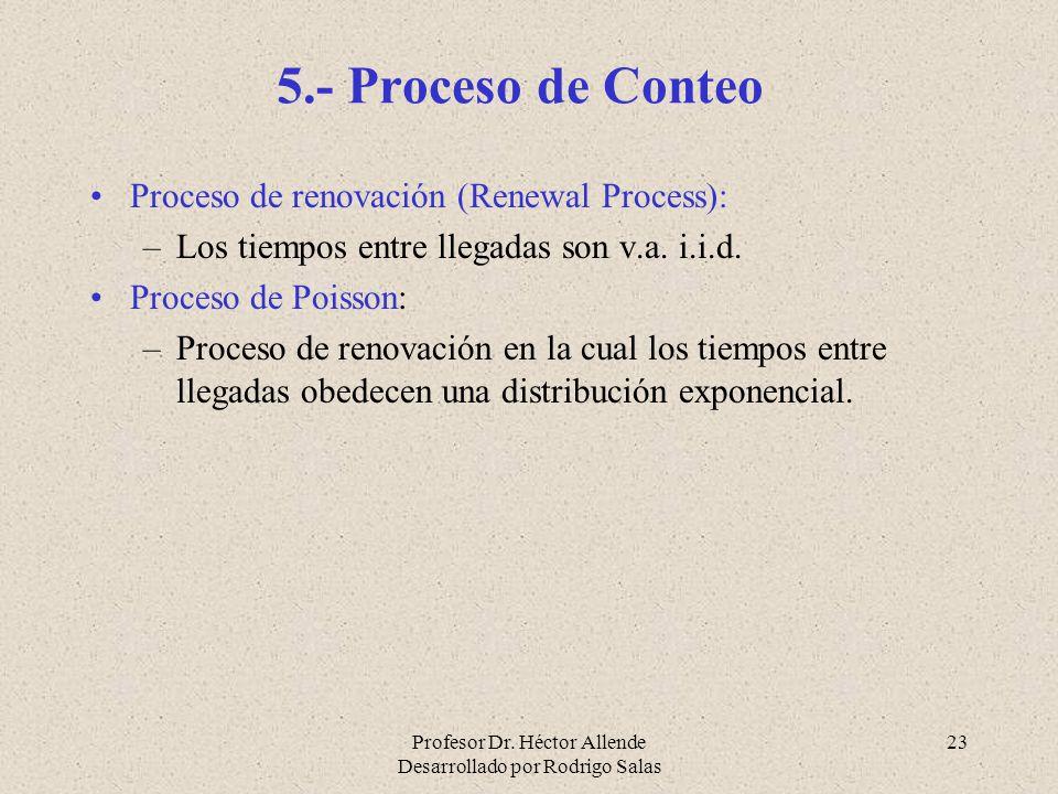 Profesor Dr. Héctor Allende Desarrollado por Rodrigo Salas 23 5.- Proceso de Conteo Proceso de renovación (Renewal Process): –Los tiempos entre llegad