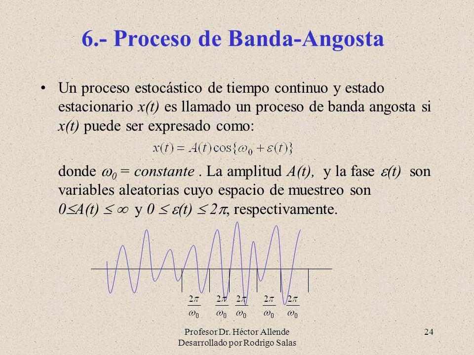 Profesor Dr. Héctor Allende Desarrollado por Rodrigo Salas 24 6.- Proceso de Banda-Angosta Un proceso estocástico de tiempo continuo y estado estacion