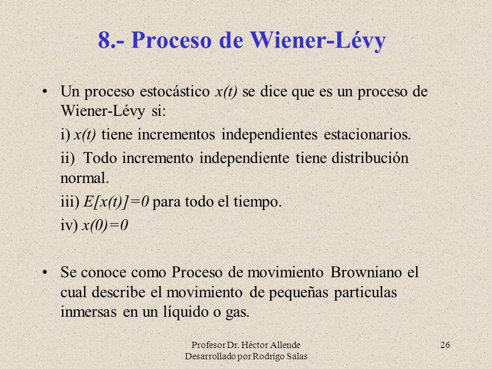 Profesor Dr. Héctor Allende Desarrollado por Rodrigo Salas 26 8.- Proceso de Wiener-Lévy Un proceso estocástico x(t) se dice que es un proceso de Wien