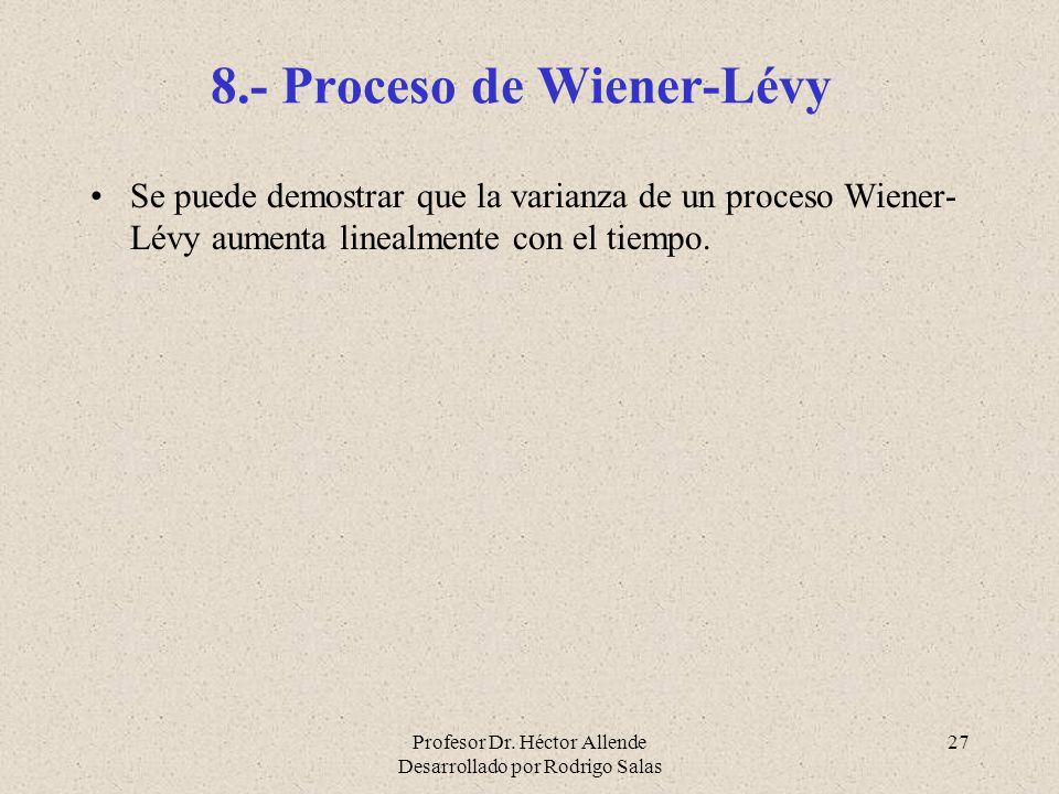 Profesor Dr. Héctor Allende Desarrollado por Rodrigo Salas 27 8.- Proceso de Wiener-Lévy Se puede demostrar que la varianza de un proceso Wiener- Lévy