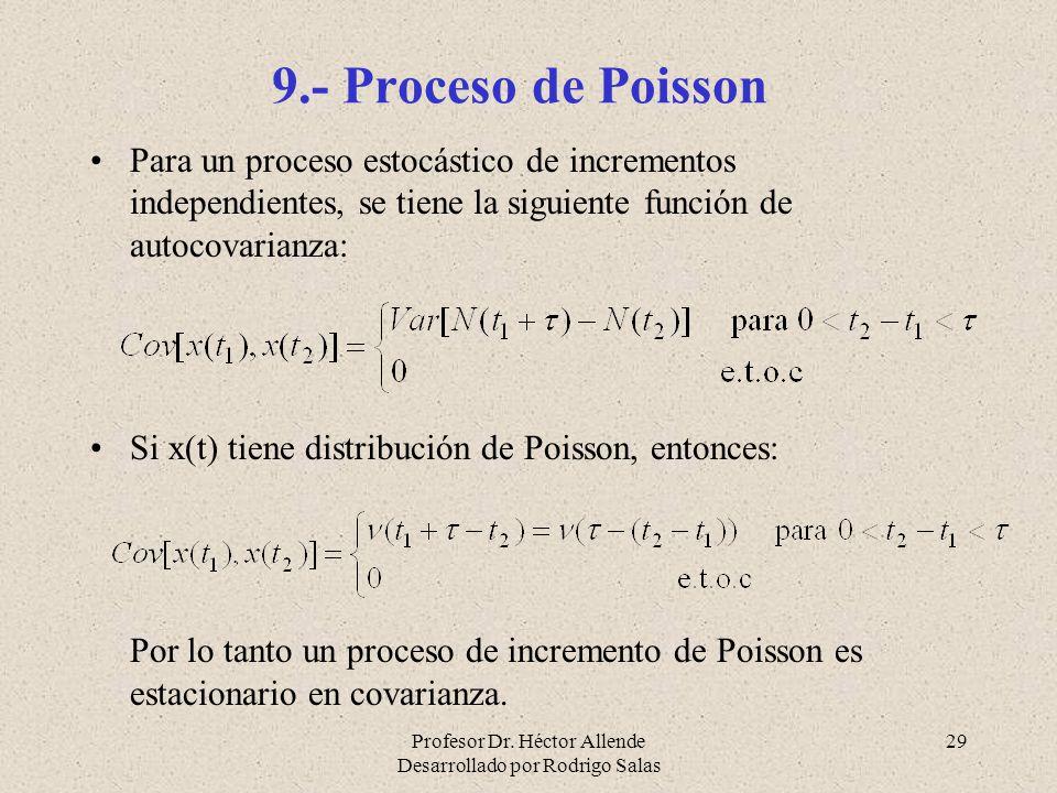 Profesor Dr. Héctor Allende Desarrollado por Rodrigo Salas 29 9.- Proceso de Poisson Para un proceso estocástico de incrementos independientes, se tie