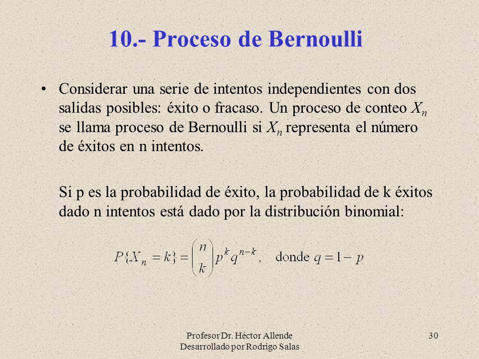 Profesor Dr. Héctor Allende Desarrollado por Rodrigo Salas 30 10.- Proceso de Bernoulli Considerar una serie de intentos independientes con dos salida