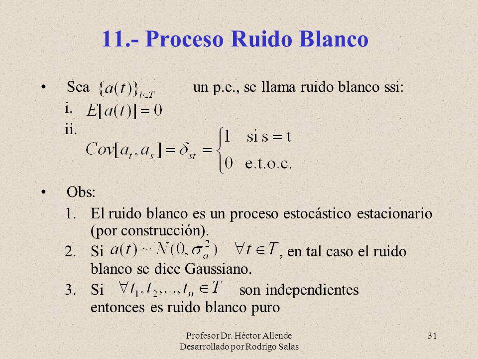 Profesor Dr. Héctor Allende Desarrollado por Rodrigo Salas 31 11.- Proceso Ruido Blanco Sea un p.e., se llama ruido blanco ssi: i. ii. Obs: 1.El ruido