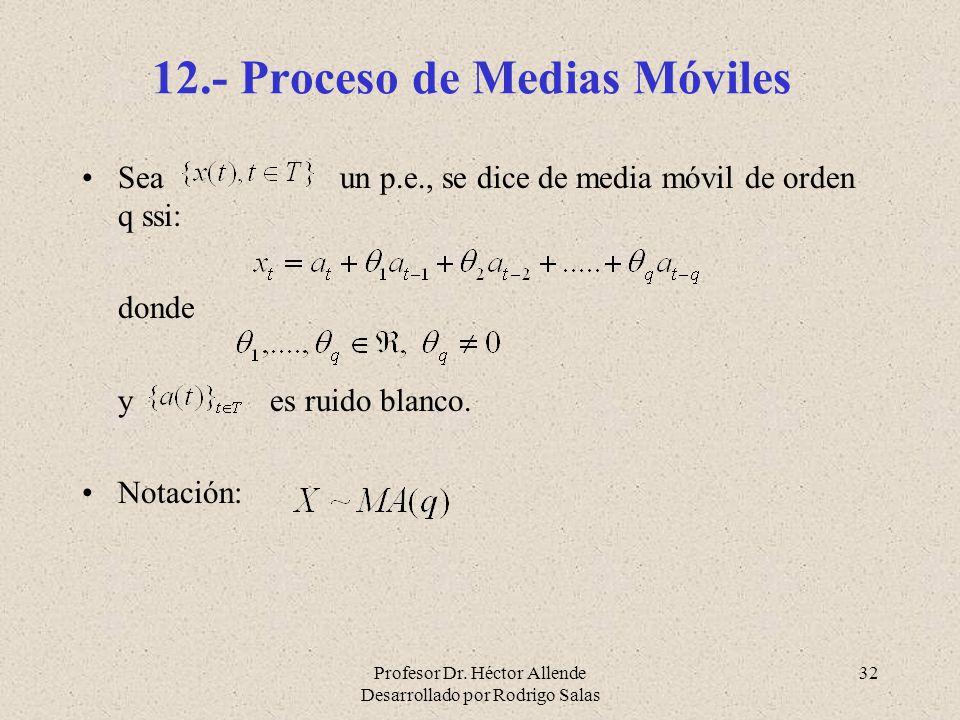 Profesor Dr. Héctor Allende Desarrollado por Rodrigo Salas 32 12.- Proceso de Medias Móviles Sea un p.e., se dice de media móvil de orden q ssi: donde