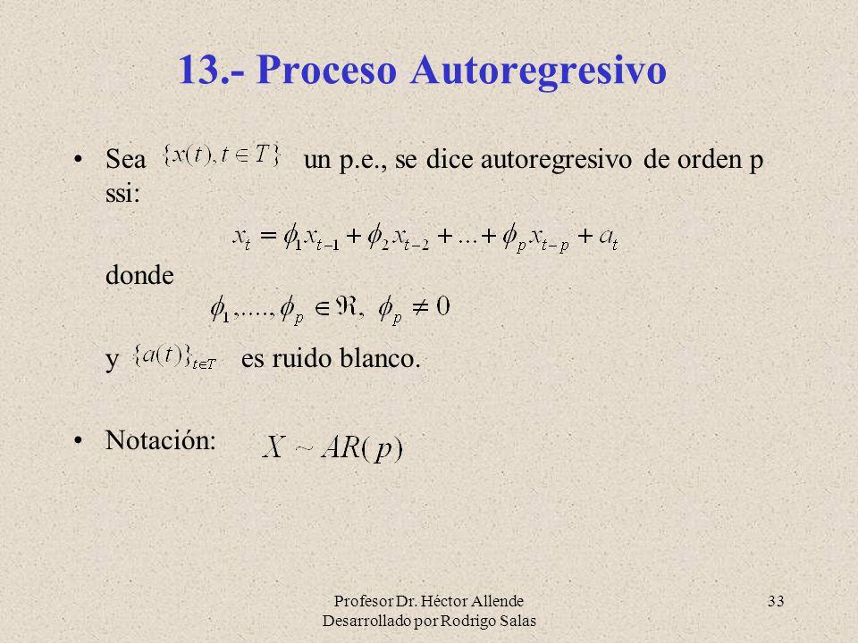 Profesor Dr. Héctor Allende Desarrollado por Rodrigo Salas 33 13.- Proceso Autoregresivo Sea un p.e., se dice autoregresivo de orden p ssi: donde y es