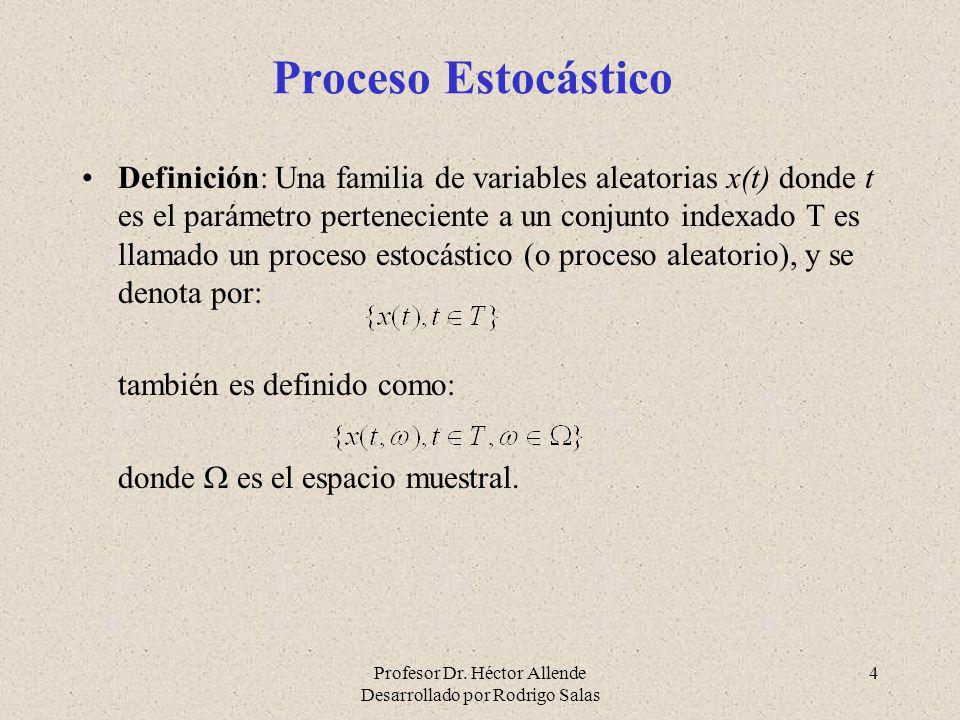 Profesor Dr. Héctor Allende Desarrollado por Rodrigo Salas 4 Proceso Estocástico Definición: Una familia de variables aleatorias x(t) donde t es el pa