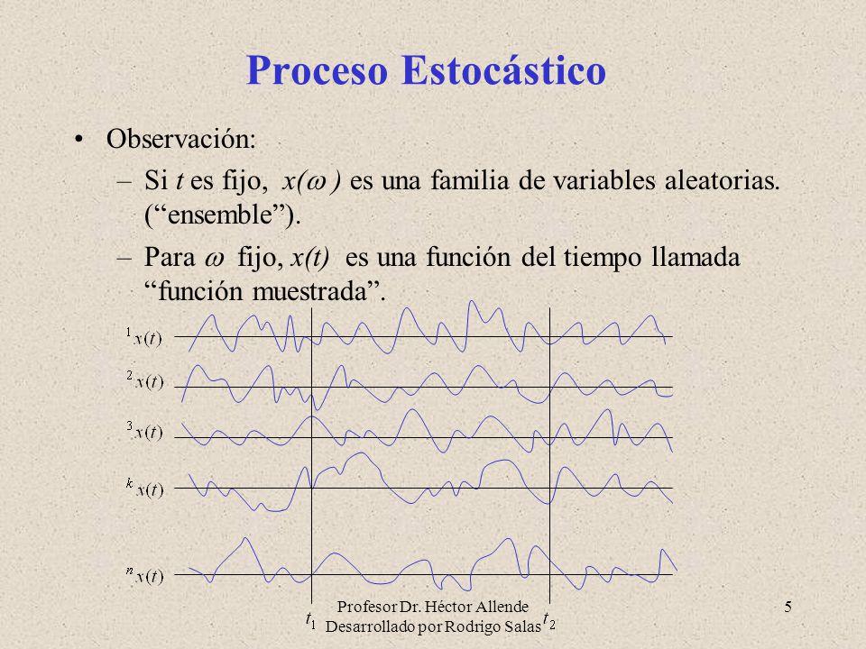 Profesor Dr. Héctor Allende Desarrollado por Rodrigo Salas 5 Proceso Estocástico Observación: –Si t es fijo, x( ) es una familia de variables aleatori