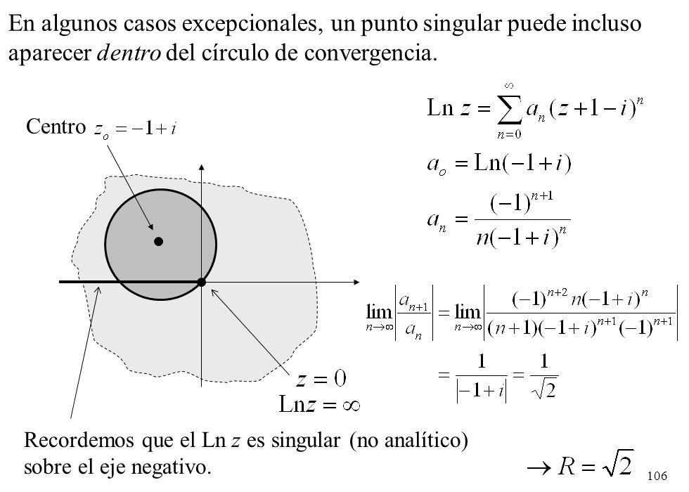 106 En algunos casos excepcionales, un punto singular puede incluso aparecer dentro del círculo de convergencia. Recordemos que el Ln z es singular (n