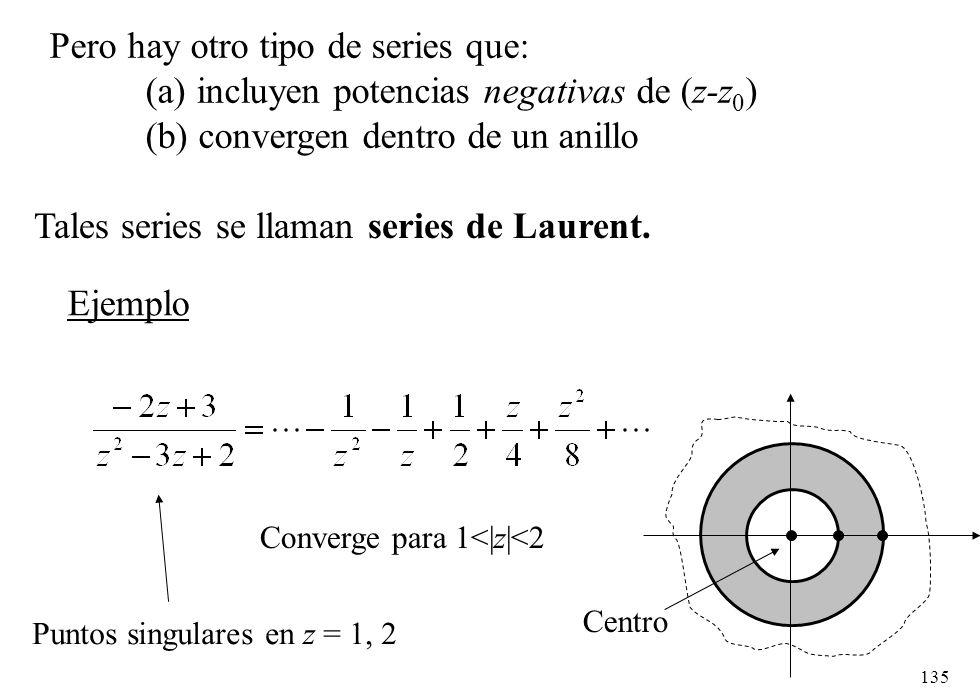 135 Pero hay otro tipo de series que: (a) incluyen potencias negativas de (z-z 0 ) (b) convergen dentro de un anillo Tales series se llaman series de
